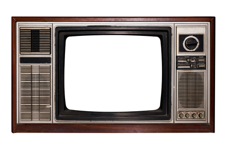 Télévision vintage - Old TV avec écran de cadre isoler sur blanc avec chemin de détourage pour objet, technologie rétro Banque d'images