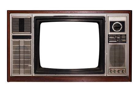 Vintage-Fernseher - Alter Fernseher mit Rahmenbildschirm auf Weiß mit Beschneidungspfad für Objekt, Retro-Technologie isolieren Standard-Bild