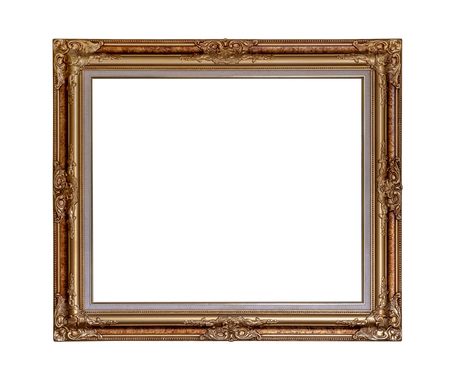 Vintage picture frame isolated on white with clipping path for object. Banque d'images