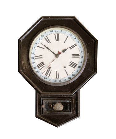 Vintage wall clock isolated on white with clipping path for object. Zdjęcie Seryjne