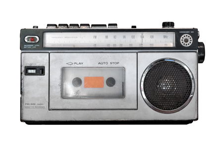 Vintage cassette player - Old radio receiver isolate on white with clipping path for object. retro technology 写真素材 - 121634760