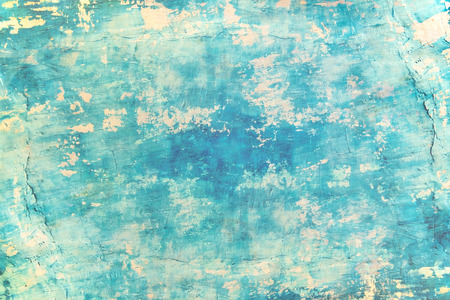 Blank grunge concrete wall blue sea color paint for texture. vintage background 免版税图像