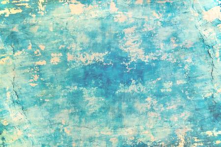 Muro de hormigón de grunge en blanco pintura de color azul mar para la textura. fondo vintage Foto de archivo