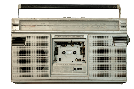 Vintage radio receiver and cassette recorder player with clipping path objects isolated on white background. retro technology.