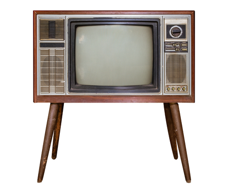 Vintage tv - antique wooden box television isolated on white with clipping path for object. retro technology