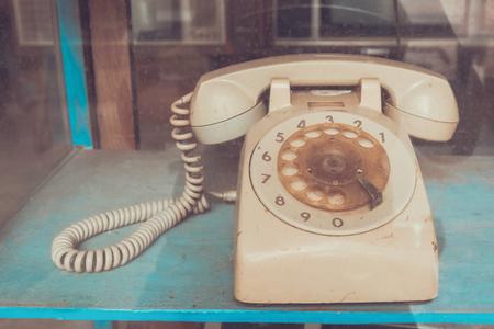 Vintage line telephone receiver, retro technology Stockfoto