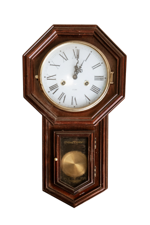 Vintage wall clock isolated on white with clipping path for object. Banque d'images