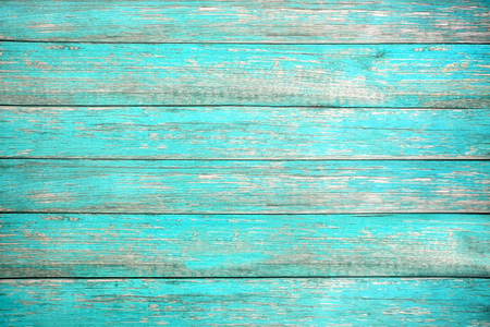 Vintage beach wood background - Old weathered wooden plank painted in turquoise or blue sea color. hardwood floor Standard-Bild