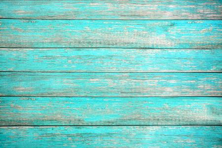 Vintage Strand-Holz-Hintergrund - Alte verwitterte Holzplanke in türkisfarbenem oder blauem Meer gemalt. Parkettboden