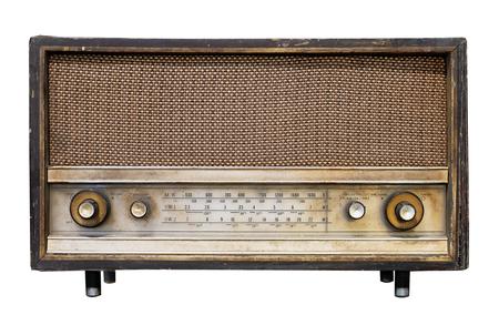 Vintage radio-ontvanger - antieke houten kist radio isoleren op wit met uitknippad voor object, retro technologie Stockfoto