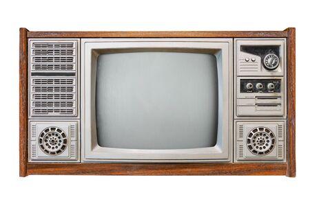 Vintage tv - antico televisore scatola di legno isolato su bianco con tracciato di ritaglio per oggetto. tecnologia retrò