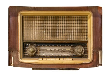 Vintage radio receiver - antique wooden box radio isolate on white with clipping path for object, retro technology Stock Photo
