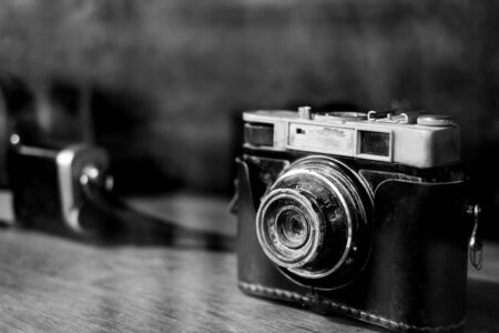 Collectibles Classic and old film camera. retro technology. vintage color tone. 写真素材 - 126630042