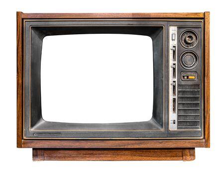 Vintage-Fernseher - antikes Holzkastenfernsehen mit ausgeschnittenem Rahmenbildschirm auf Weiß mit Beschneidungspfad für Objekt, Retro-Technologie isolieren
