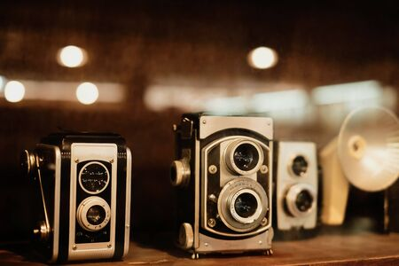 Collectibles Classic and old film camera. retro technology. vintage color tone.