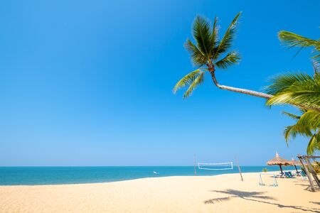 Beautiful tranquil scenery of tropical landscape sea view and palm tree on sand beach. Travel inspirational, Summer holiday and vacation concept for tourism relaxing. Reklamní fotografie