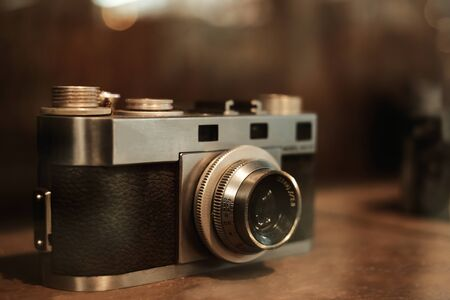 Collectibles Classic and old film camera. retro technology. vintage color tone. 写真素材 - 127898634