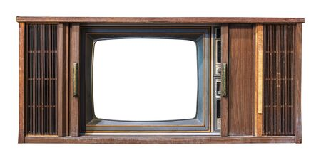 Vintage television - antique wooden box television with cut out frame screen isolate on white with clipping path for object, retro technology