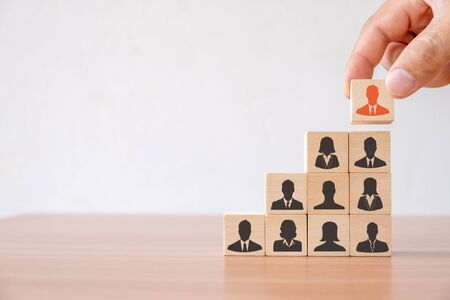 Business concept of Human resource and talent management and recruitment. Hand of men putting wood cube block on top staircase Reklamní fotografie