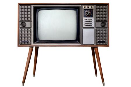 Vintage television - Old TV  isolate on white with clipping path for object. retro technology Reklamní fotografie