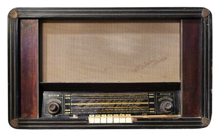 Vintage radio receiver - antique wooden box radio isolate on white with clipping path for object, retro technology Stock fotó - 128631183