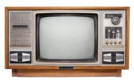 Vintage tv - televisión de caja de madera antigua aislada en blanco con trazado de recorte para el objeto. tecnología retro