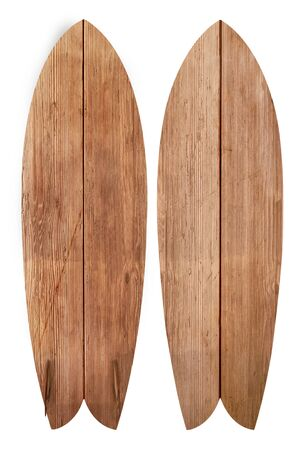 Vintage wood fish board surfboard isolated on white with clipping path for object, retro styles. Reklamní fotografie