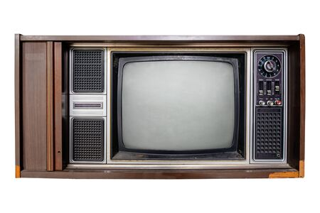 Vintage television - Old TV  isolate on white with clipping path for object