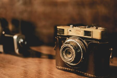 Collectibles Classic and old film camera. 写真素材 - 129398394