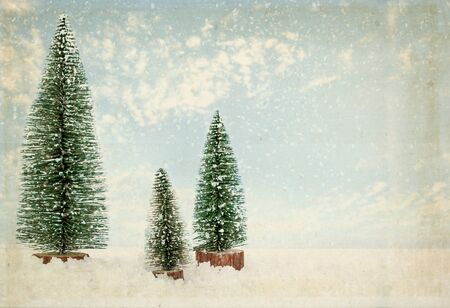 vintage Christmas postcard. Fir tree in winter with snow. Stok Fotoğraf