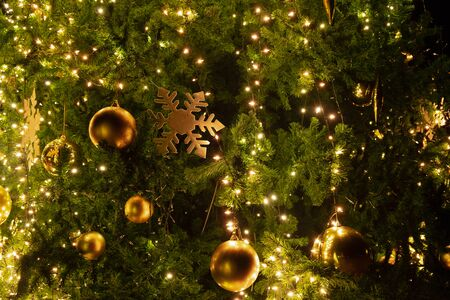 Close-up Christmas tree with decoration, light and gold ball at night in Christmas and New Year holiday.
