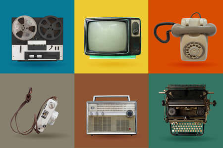 Retro electronics set. Nostalgic collectibles from the past 1980s - 1990s. objects isolated on retro color palette