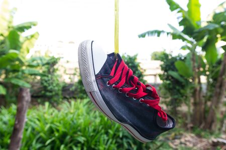 Shoe hanging after wash it