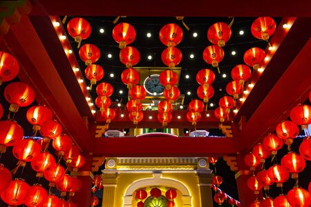 Chinese new year. Red paper lanterns at the Chinese light festival in Phuket. Thailand Stock Photo