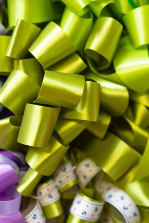 Curly green ribbon background. Texture background. Patten background.