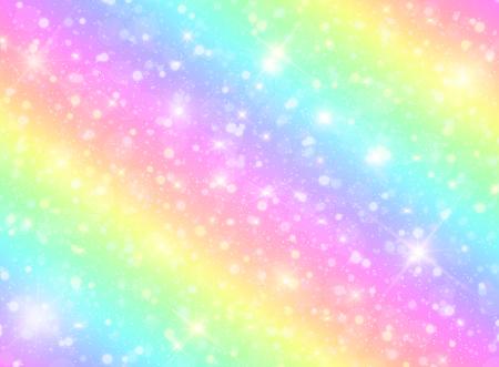 Vektorillustration des Galaxienphantasiehintergrunds und der Pastellfarbe. Das Einhorn im Pastellhimmel mit Regenbogen. Pastellwolken und Himmel mit Bokeh. Vektorgrafik