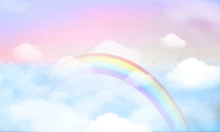 fantasy magical landscape rainbow on sky abstract big volume texture fluffy clouds shine close up view straight, cotton wool, pink purple pastel colors sun fabulous Illustration