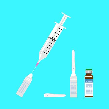 The syringe inserted a pink needle and drawing sterile water in glass bottle.A powdered vaccine in a brown bottle.Vector illustration.
