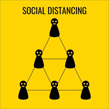 Social distance symbol to reduce the spread of disease. There are characters standing on triangles with the same distance.Vector illustration.