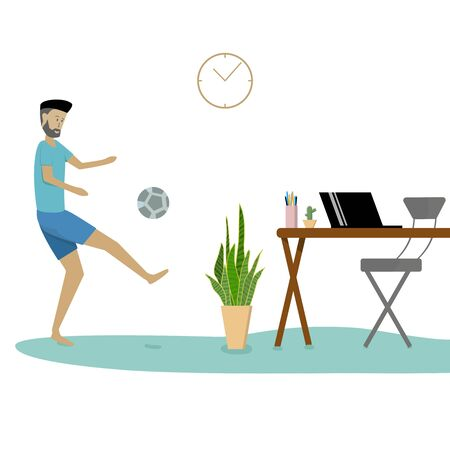 Young man play football to relieve themselves from working at home.Working at home reduces the spread of the corona virus.Vector illustration.