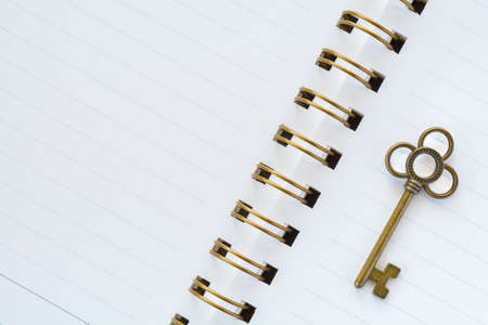 diagonal diary education: A gold metal key on white paper