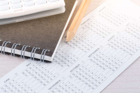 planing: Business planing concept with calendar and pencil. Stock Photo