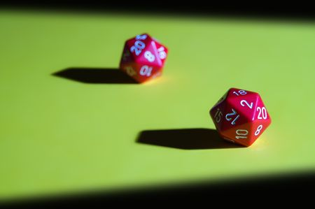 role playing: Red dices with 20 sides, for role playing games.