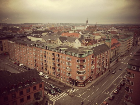Aalborg city in Denmark, seen from above Stock Photo