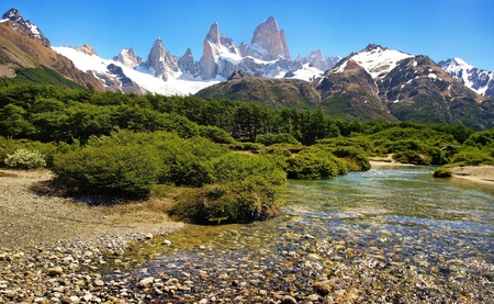 river landscape with mt. fitz roy in the background as seen in argentina.