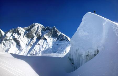 roped: escalada de monta�a del Himalaya Foto de archivo
