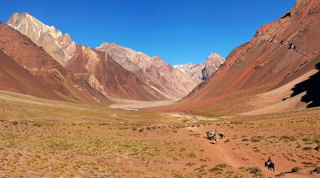 campo de hielo sur: panorama of a mountain valley as seen in aconcagua national park, argentina, south america.