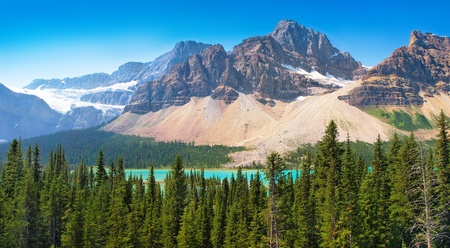 panoramic view of canadian wilderness as seen in banff national park, alberta photo