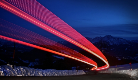 light trails: traffic lights during night Stock Photo
