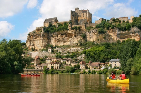 kayaking on river dordogne in the south of france.\ (tourism)